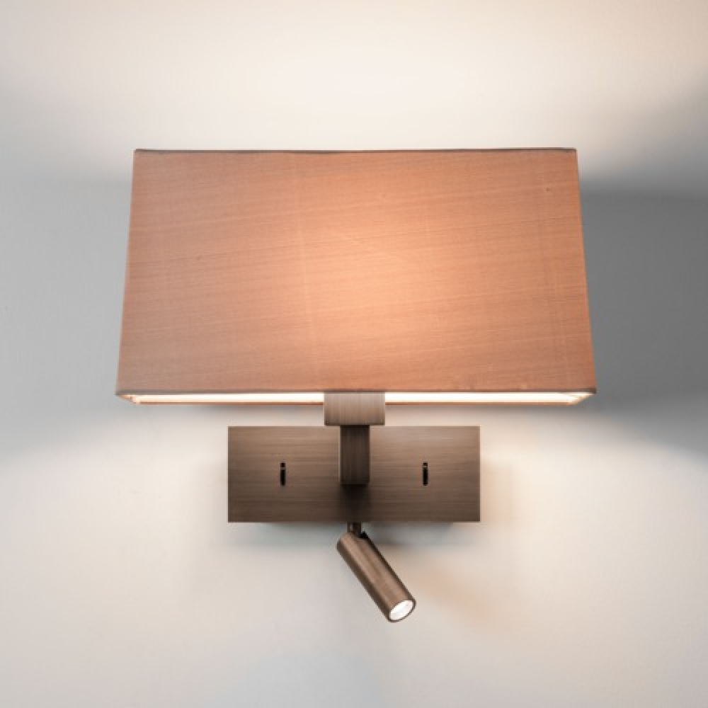 Rectangle Bronze Wall Light with LED Spotlight